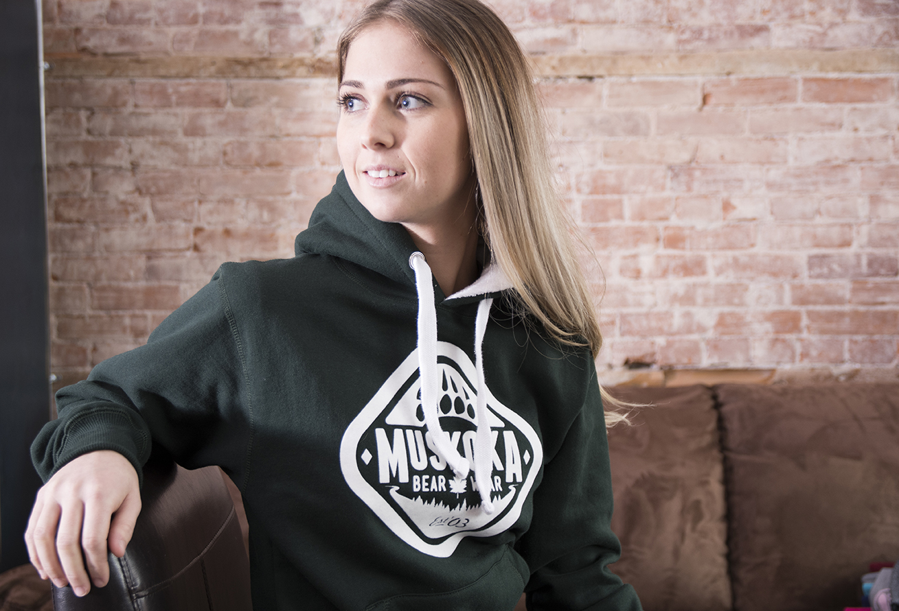 Ladies Sherpa Hoody in Park Green with White