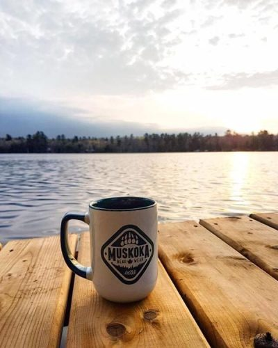 MBW Mug on the dock at sunrise.